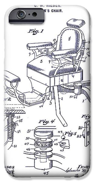 Chair Drawings iPhone Cases - 1901 Barber Chair Patent Blueprint iPhone Case by Jon Neidert