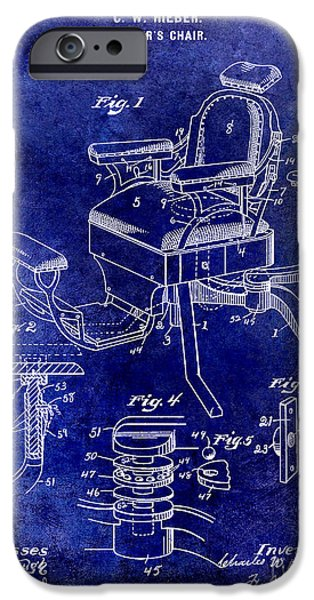Barber iPhone Cases - 1901 Barber Chair Patent Drawing Blue iPhone Case by Jon Neidert
