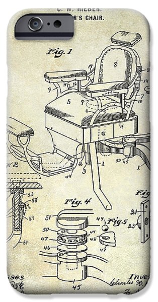 Chair Drawings iPhone Cases - 1901 Barber Chair Patent Drawing  iPhone Case by Jon Neidert