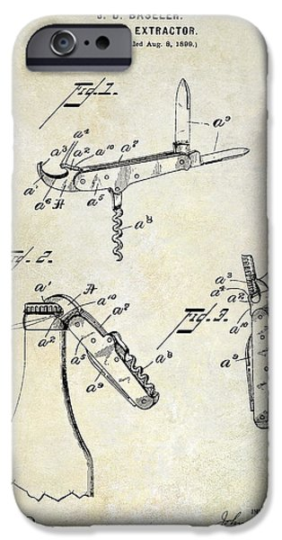 Wine Bottles iPhone Cases - 1901 Corkscrew Patent Drawing iPhone Case by Jon Neidert