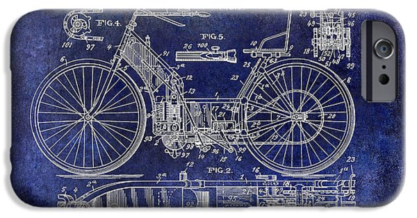Victory iPhone Cases - 1901 Motorcycle Patent Drawing Blue iPhone Case by Jon Neidert
