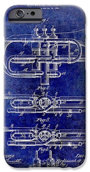 Axes iPhone Cases - 1901 Wind Musical Instrument Patent Drawing Blue iPhone Case by Jon Neidert
