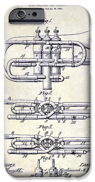 Axes iPhone Cases - 1901 Wind Musical Instrument Patent Drawing  iPhone Case by Jon Neidert