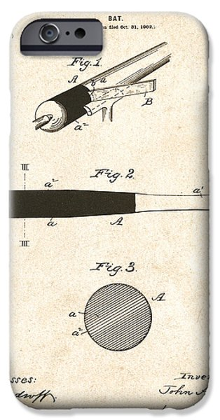 1902 Baseball Bat Patent iPhone Case by Digital Reproductions