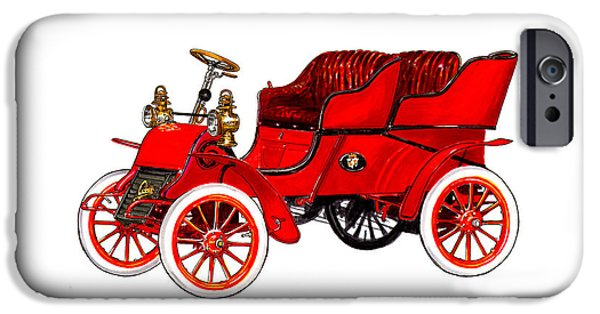 Classic Car Paintings iPhone Cases - 1902 Cadillac Model A Runabout iPhone Case by Jack Pumphrey