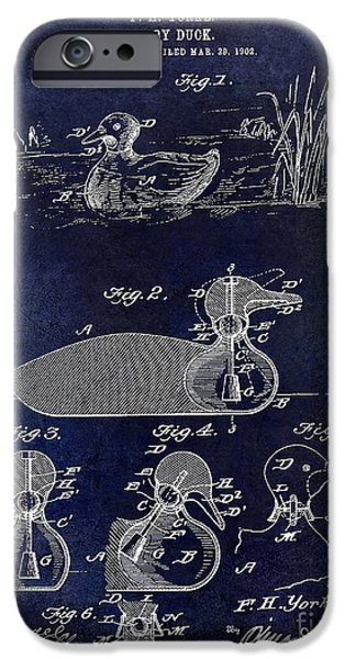 Hunting Bird iPhone Cases - 1902 Duck Decoy Patent Drawing iPhone Case by Jon Neidert