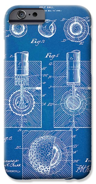 Golfing iPhone Cases - 1902 Golf Ball Patent Artwork - Blueprint iPhone Case by Nikki Marie Smith