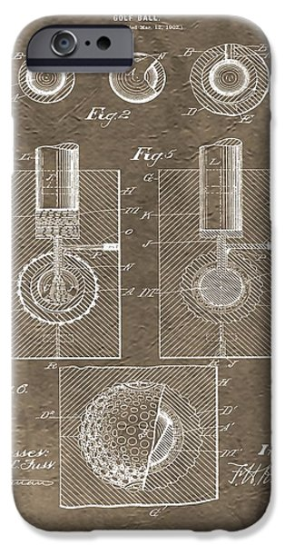Professional Golf iPhone Cases - 1902 Golf Ball Patent iPhone Case by Dan Sproul