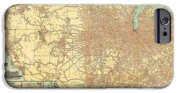 Europa Paintings iPhone Cases - 1902 Railway Guide Map  iPhone Case by Celestial Images