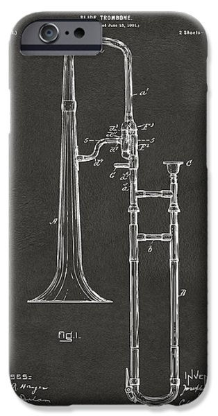 Marching Band iPhone Cases - 1902 Slide Trombone Patent Artwork - Gray iPhone Case by Nikki Marie Smith