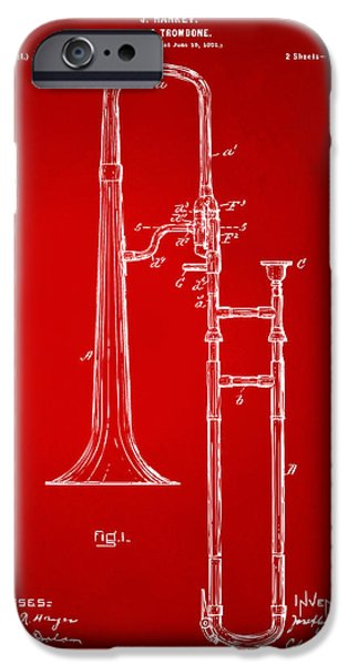 Slide iPhone Cases - 1902 Slide Trombone Patent Artwork Red iPhone Case by Nikki Marie Smith