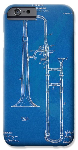 Marching Band iPhone Cases - 1902 Slide Trombone Patent Blueprint iPhone Case by Nikki Marie Smith