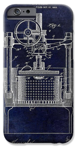 Red Wine iPhone Cases - 1902 Wine Press Patent Drawing Blue iPhone Case by Jon Neidert