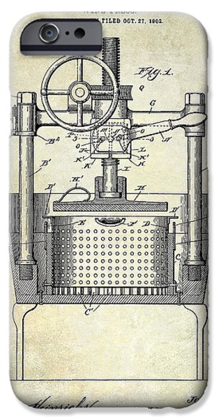 Red Wine iPhone Cases - 1902 Wine Press Patent Drawing iPhone Case by Jon Neidert