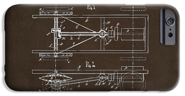 Model T iPhone Cases - 1903 Henry Ford Model T Patent Espresso iPhone Case by Nikki Marie Smith