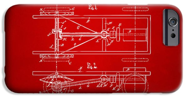 Model T iPhone Cases - 1903 Henry Ford Model T Patent Red iPhone Case by Nikki Marie Smith