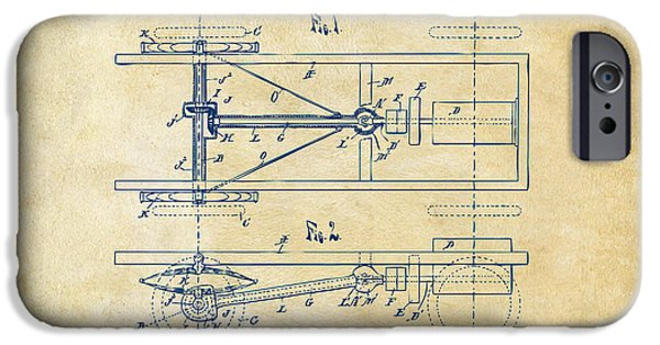 Lines Art iPhone Cases - 1903 Henry Ford Model T Patent Vintage iPhone Case by Nikki Marie Smith