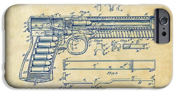 Weapon iPhone Cases - 1903 McClean Pistol Patent Artwork - Vintage iPhone Case by Nikki Marie Smith