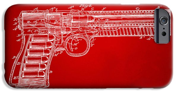X-ray iPhone Cases - 1903 McClean Pistol Patent Minimal - Red iPhone Case by Nikki Marie Smith