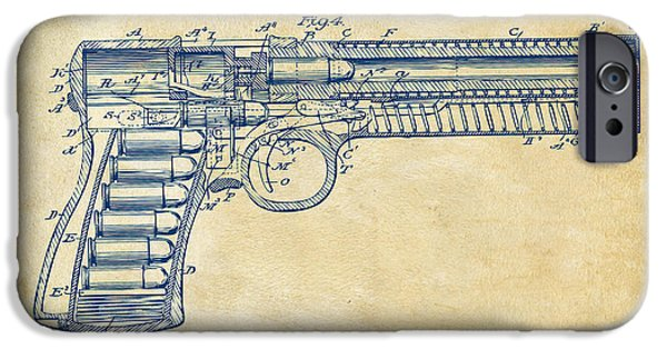 Weapon iPhone Cases - 1903 McClean Pistol Patent Minimal - Vintage iPhone Case by Nikki Marie Smith