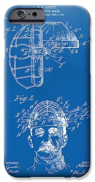 Baseball iPhone Cases - 1904 Baseball Catchers Mask Patent Artwork - Blueprint iPhone Case by Nikki Marie Smith