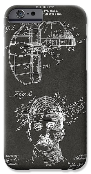 Baseball iPhone Cases - 1904 Baseball Catchers Mask Patent Artwork - Gray iPhone Case by Nikki Marie Smith