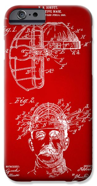 Baseball iPhone Cases - 1904 Baseball Catchers Mask Patent Artwork - Red iPhone Case by Nikki Marie Smith