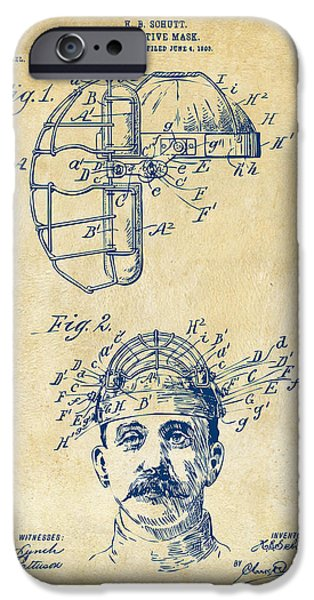 Baseball iPhone Cases - 1904 Baseball Catchers Mask Patent Artwork - Vintage iPhone Case by Nikki Marie Smith