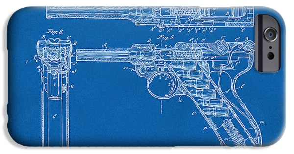 X-ray iPhone Cases - 1904 Luger Recoil Loading Small Arms Patent - Blueprint iPhone Case by Nikki Marie Smith