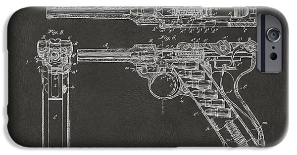 X-ray iPhone Cases - 1904 Luger Recoil Loading Small Arms Patent - Gray iPhone Case by Nikki Marie Smith