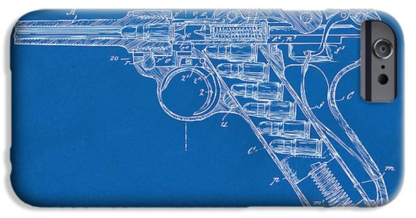 X-ray iPhone Cases - 1904 Luger Recoil Loading Small Arms Patent Minimal - Blueprint iPhone Case by Nikki Marie Smith