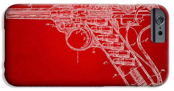 X-ray iPhone Cases - 1904 Luger Recoil Loading Small Arms Patent Minimal - Red iPhone Case by Nikki Marie Smith