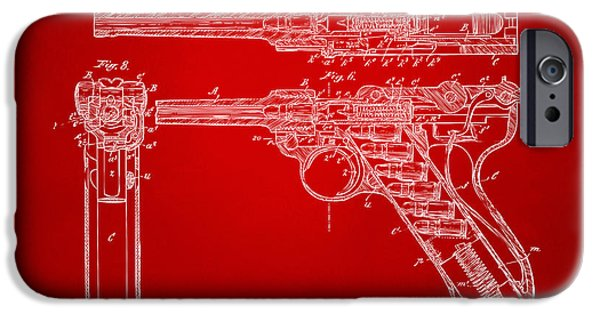 X-ray iPhone Cases - 1904 Luger Recoil Loading Small Arms Patent - Red iPhone Case by Nikki Marie Smith