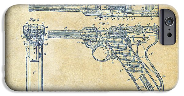Small Digital Art iPhone Cases - 1904 Luger Recoil Loading Small Arms Patent - Vintage iPhone Case by Nikki Marie Smith