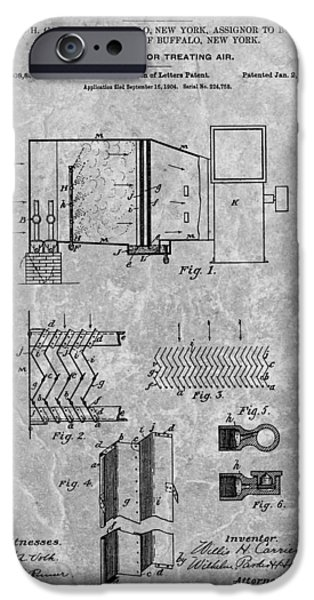 Repairman iPhone Cases - 1906 Air Conditioning Unit Patent iPhone Case by Dan Sproul