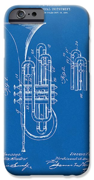 Marching Band iPhone Cases - 1906 Brass Wind Instrument Patent Artwork Blueprint iPhone Case by Nikki Marie Smith