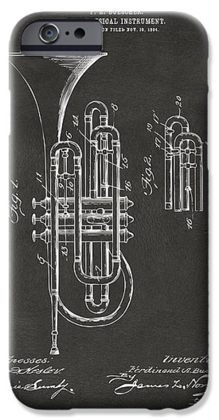 Marching Band iPhone Cases - 1906 Brass Wind Instrument Patent Artwork - Gray iPhone Case by Nikki Marie Smith