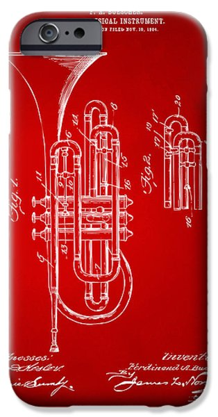 Marching Band iPhone Cases - 1906 Brass Wind Instrument Patent Artwork Red iPhone Case by Nikki Marie Smith