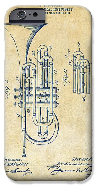Marching Band iPhone Cases - 1906 Brass Wind Instrument Patent Artwork Vintage iPhone Case by Nikki Marie Smith