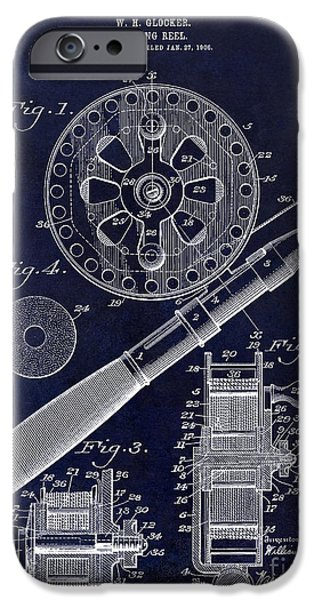 Basket iPhone Cases - 1906 Fishing Reel Patent Drawing Blue iPhone Case by Jon Neidert