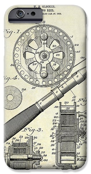 Best Sellers -  - Basket iPhone Cases - 1906 Fishing Reel Patent Drawing iPhone Case by Jon Neidert