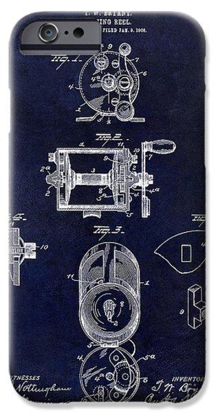 Shark iPhone Cases - 1906 Fishing Reel Patent Drawing.Blue iPhone Case by Jon Neidert