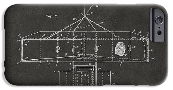 Negro iPhone Cases - 1906 Wright Brothers Airplane Patent Gray iPhone Case by Nikki Marie Smith