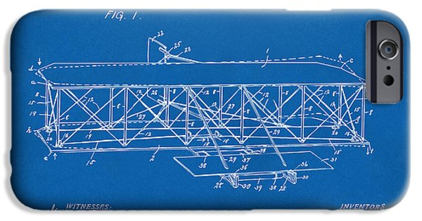 Lines Art iPhone Cases - 1906 Wright Brothers Flying Machine Patent Blueprint iPhone Case by Nikki Marie Smith