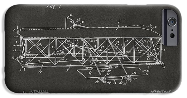 Negro iPhone Cases - 1906 Wright Brothers Flying Machine Patent Gray iPhone Case by Nikki Marie Smith