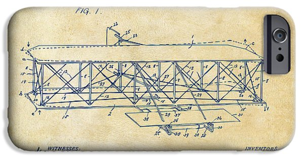 Lines Art iPhone Cases - 1906 Wright Brothers Flying Machine Patent Vintage iPhone Case by Nikki Marie Smith