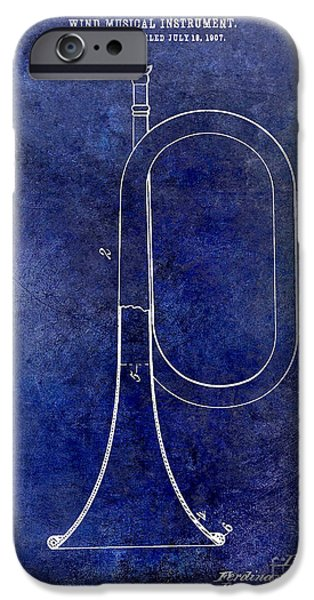 Axes iPhone Cases - 1907 Bugle Patent Drawing Blue iPhone Case by Jon Neidert