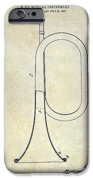 Axes iPhone Cases - 1907 Bugle Patent Drawing iPhone Case by Jon Neidert