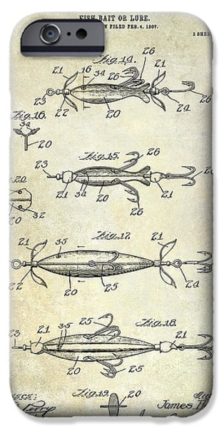 Basket iPhone Cases - 1907 Fishing Lure Patent iPhone Case by Jon Neidert