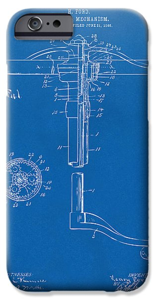 Mechanism iPhone Cases - 1907 Henry Ford Steering Wheel Patent Blueprint iPhone Case by Nikki Marie Smith